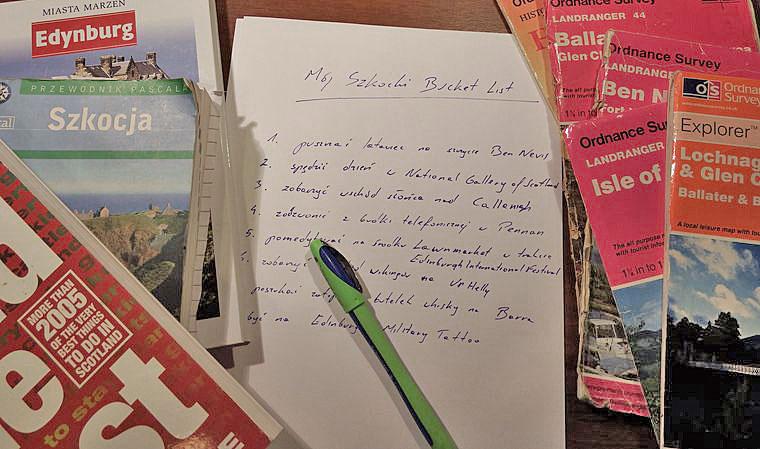 mój szkocki Bucket List