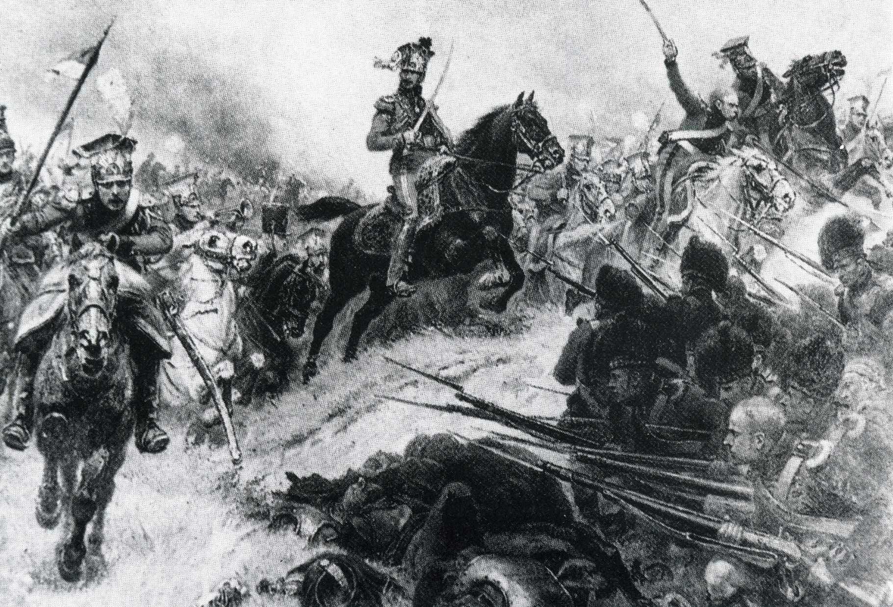 Bitwa pod Waterloo, obraz A Boularda. Atak 2 Pułku Szwoleżerów Lansjerów Gwardii na czworoboki szkockiej piechoty