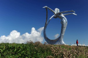 First images of the completed Sculpture 'Arria' which is situated alongside the A80 at Cumbernauld outside Glasgow in ScotlandFirst images of the completed Sculpture 'Arria' which is situated alongside the A80 at Cumbernauld outside Glasgow in Scotland